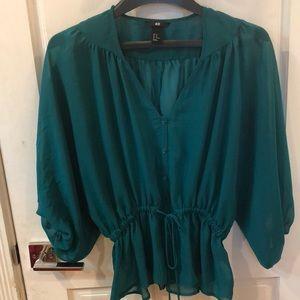 Women's Sheer Green Peplum  Blouse with stretch
